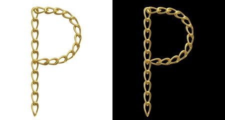 Letter A made with golden chains, isolated on white and black photo