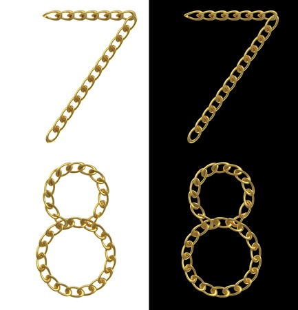 linkage: Numbers 7 and 8, made with golden chains, isolated on white and  black