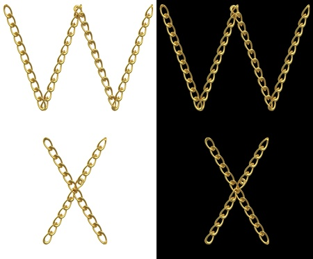 Letters W and X, made with golden chains, isolated on white and black photo