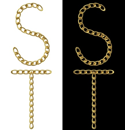 Letters S and T, made with golden chains, isolated on white and black photo