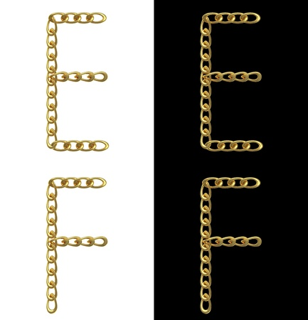 Letters E and F, made with golden chains, isolated on white and black photo