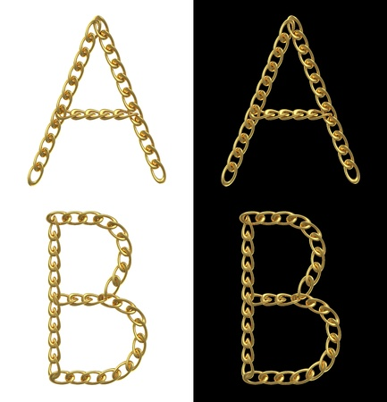 Letters A and B, made with golden chains, isolated on white and black photo