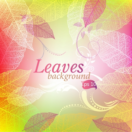 Background with leaves and patterns