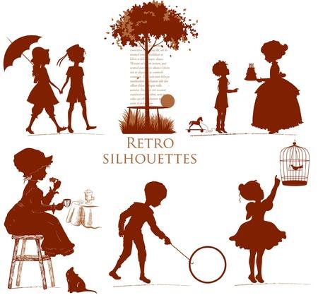 Set van retro silhouetten kinderen Stock Illustratie