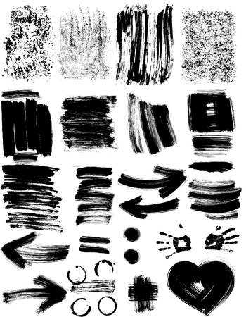 Set of different grunge textures and elements Vector