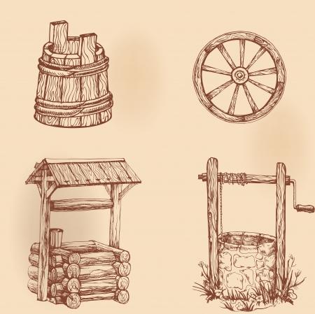 seau d eau: Ensemble de dessins ustensiles rustiques