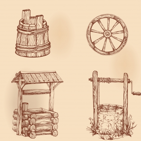 water well: Set of drawings rustic utensils