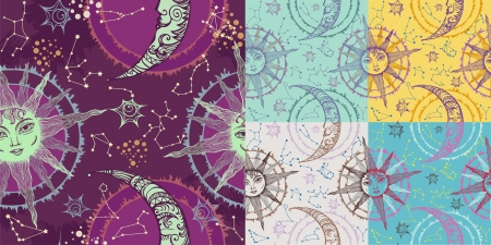 abstract aquarius: Seamless composition with sun and moon
