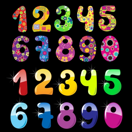 Set of cute  bright numbers Vector