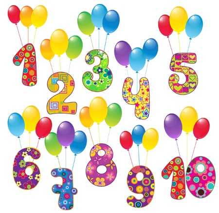 Cute numbers with balloons Stock Vector - 20682085