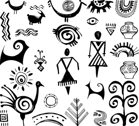 anthropology: Set of primitive ethnic drawings