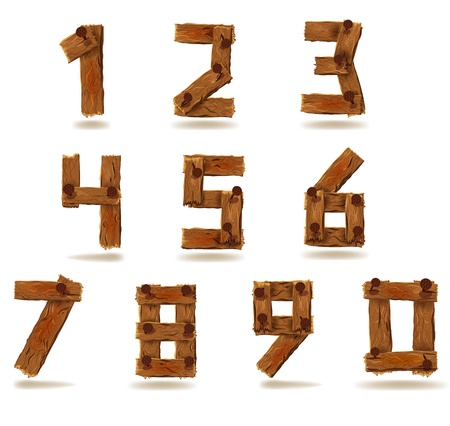 Numbers of downed wood planks with nails Vector