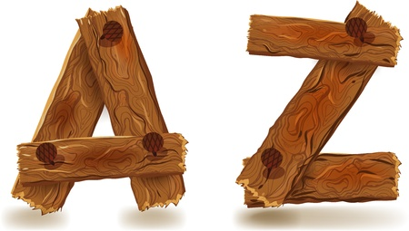 old english letter alphabet: Letters A and Z, of downed wood planks with nails Illustration