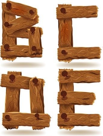 Letters B, C, D, E, of downed wood planks with nails Vector