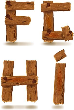Letters F,G,H,I, downed wood planks with nails Vector