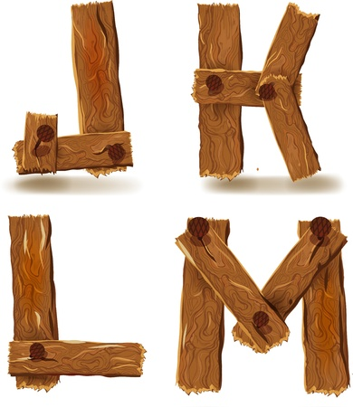 Letters J, K, L, M, downed wood planks with nails Vector