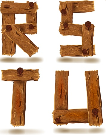 Letters R,S,T,U, downed wood planks with nails