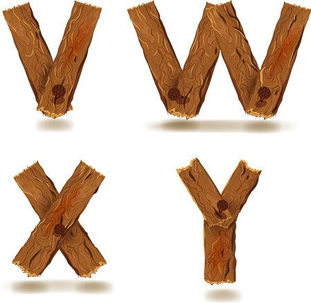 wood board: Letters V, W, X, Y, downed wood planks with nails