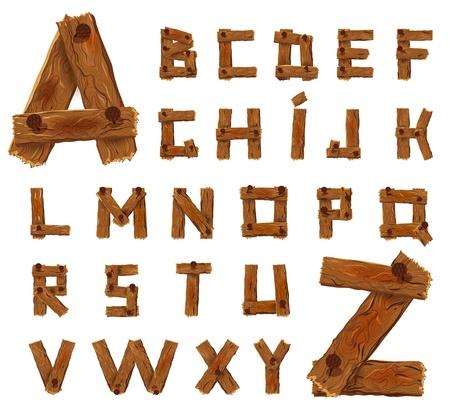 Alfabet van neergehaalde houten planken met spijkers