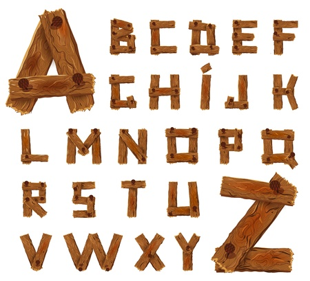 Alphabet of downed wood planks with nails Illustration