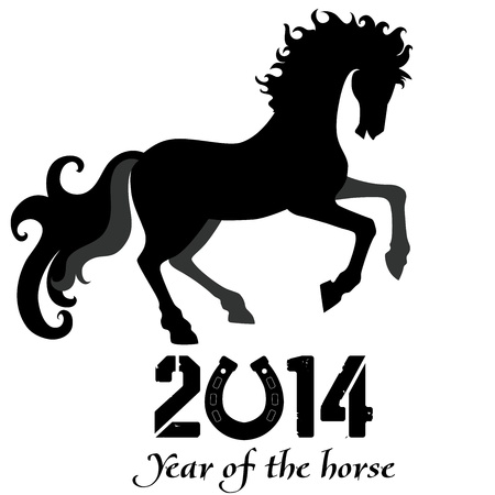 Horse, silhouette of symbol  2014 year Imagens - 21022269