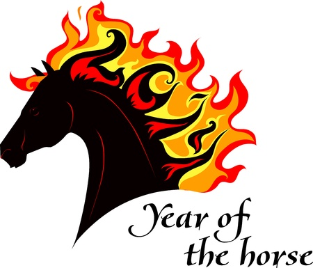Horse, silhouette of symbol  2014 year Vector