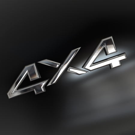 Four-wheel drive, 4X4 silver sign Stock Photo - 21167475