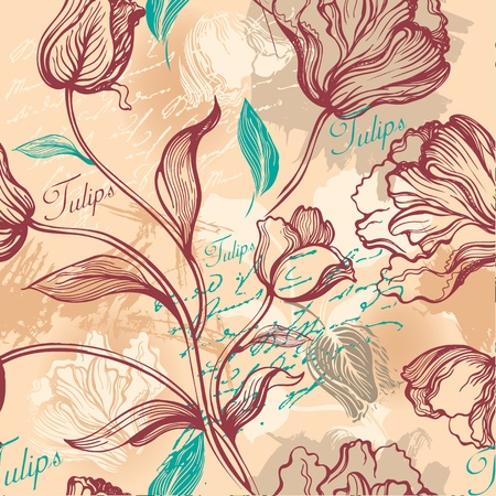 textile image: Seamless background with decorative tulips