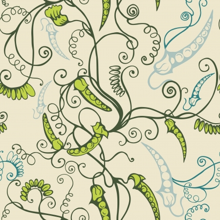 Seamless background with decorative patterned peas