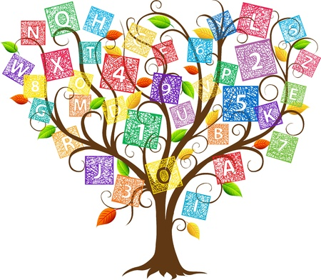 Illustration of Education treewith letters and numbers
