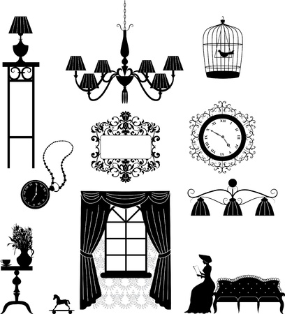 western style room: Pieces of furniture retro interior  Illustration