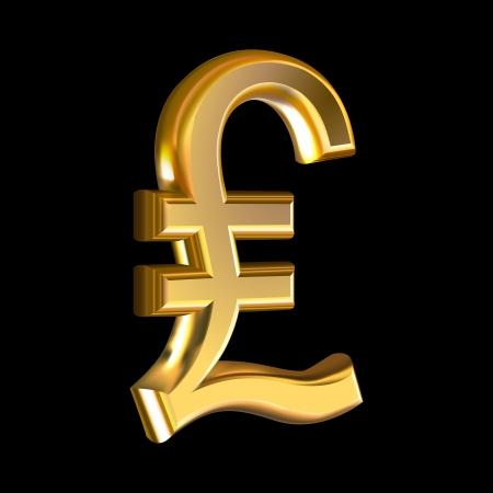Extruded golden sign pound on black background Illustration