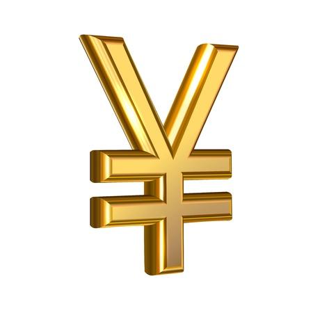 yen sign: Extruido signo Yen dorada Vectores