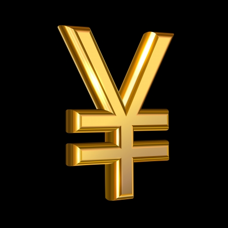 foreign currency: Extruded golden Yen sign Illustration