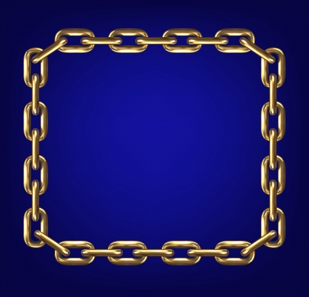 lock and chain: Frame made with gold chain Illustration
