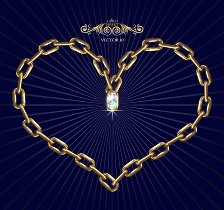 Illustration, made with 3D of heart in shape of chains