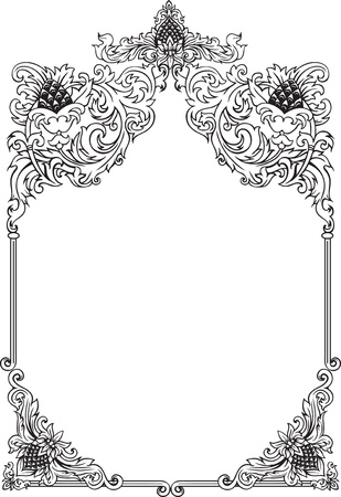 Hand drawn vintage frame with free space inside Illustration