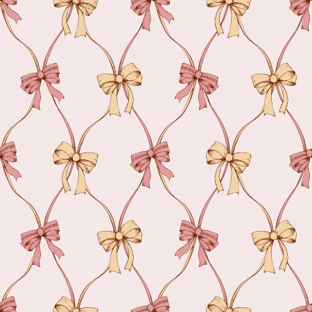 Seamless composition with vintage hand drawn bows and tapes