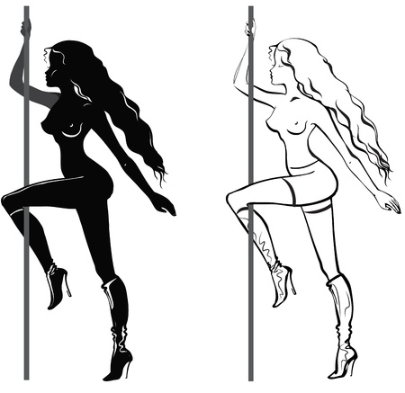 Striptease girl, set of hand drawn sketches Stock Vector - 22156776