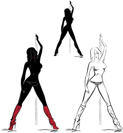 Striptease meisje, set van de hand getekende schetsen