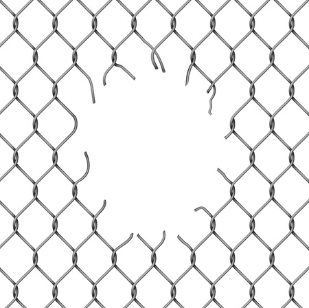 barbed wire fence: Torn fence chain, vector illustration