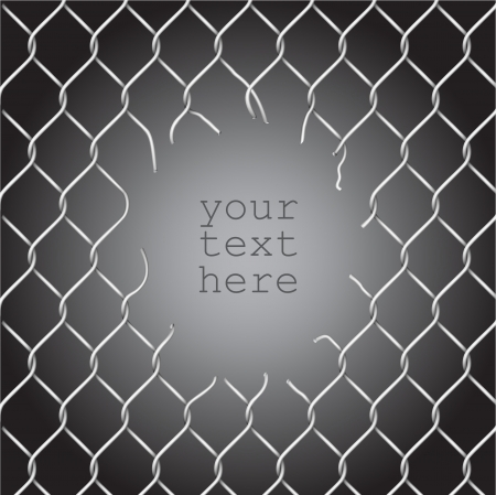 trespass: Torn fence chain, vector illustration
