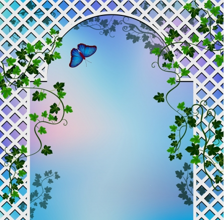 Background with  romantic arbor entwined with ivy Illustration