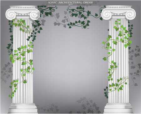Background with ionic columns entwined with ivy