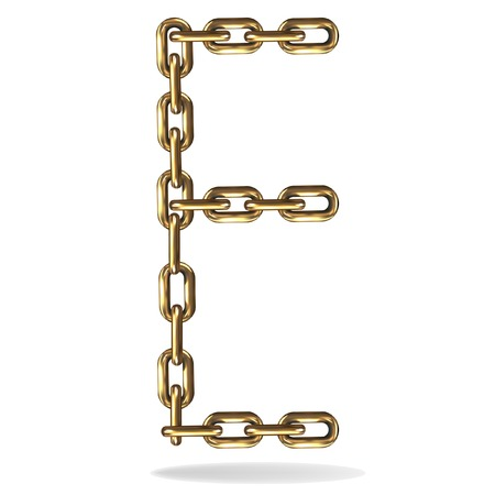 jewelry design: Golden Letter E made with chains Illustration