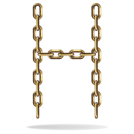 bevel: Golden Letter H made with chains