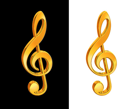 Gold treble clef on white and black background