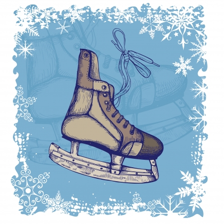 New Year background with Hand Drawn Illustration of Old Retro Skates  Vector