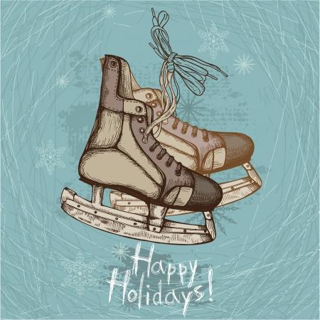 patinaje: Dibujado a mano ilustraci�n de los viejos patines retro sobre fondo de invierno Vectores