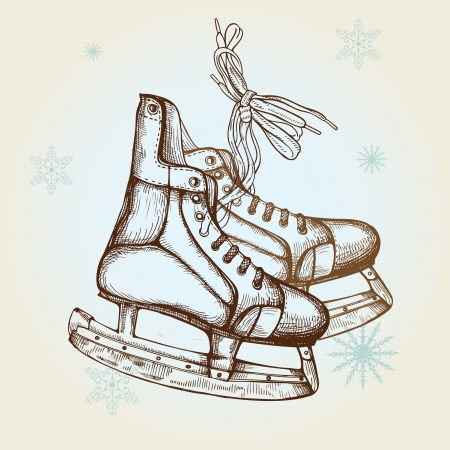 Hand Drawn Illustration of Old Retro Skates